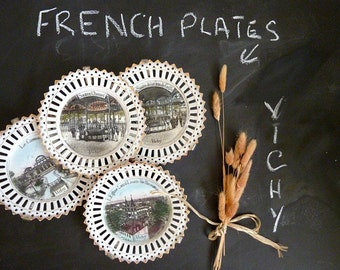 4 Antique French decorative plates with Vichy views, early 1900s.
