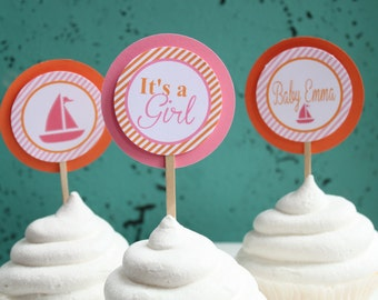 SAILBOAT NAUTICAL It's A Girl Baby Shower Happy Birthday Cupcake Toppers Set of 12 {One Dozen} - Party Packs Available