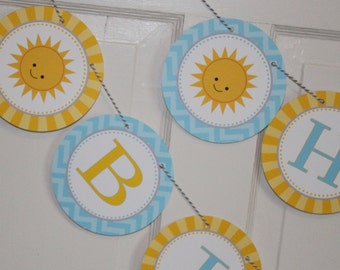 LITTLE SUNSHINE Happy Birthday or Baby Shower Party Banner Yellow Blue Chevron - Party Packs Available