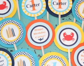 PREPPY  BEACH Baby Shower or Birthday Cupcake Toppers 12 {One Dozen} - Party Packs Available