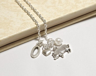 Personalized Pig Necklace with Your Initial and Birthstone
