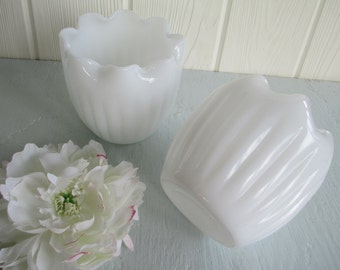 Flower Bowls ~ Vintage White Milk Glass, Pinch Top Planters, Scalloped, Flower Vases / Wedding Table Decor Centerpiece Country Cottage Chic