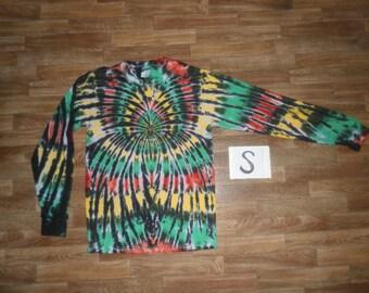 Tie Dye T-Shirt ~ Long Sleeve Rasta Spider Spiral S0330 Small