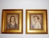 Vintage Pair of Framed Children Photos Sepia Gold Frames Wall Hanging