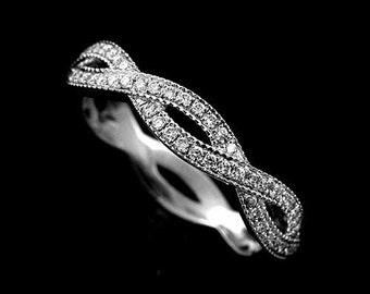 Pave Set Diamond Solid 14K White Gold Intertwining 3.7mm Wide Wedding Band