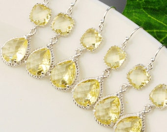 Bridal Jewelry Set -10% OFF Yellow Citrine Bridesmaid Earrings SET OF 5 - Bridesmaid Jewelry Set -  Wedding Jewelry - Silver Drop Earrings