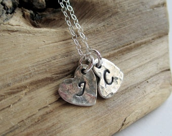 Personalized Textured Heart Sterling Silver Necklace