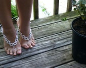 Crochet Barefoot Sandals,Beach Pool,Nude shoes,Foot jewelry,Wedding shoes,