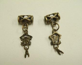 2 Beads - Coo Coo Clock Dangle Bronze European Charm Bead T0045