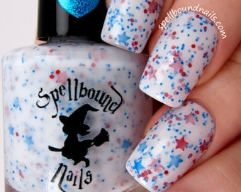 Star Spangled - White Crelly Red Blue Glitter Nail Polish