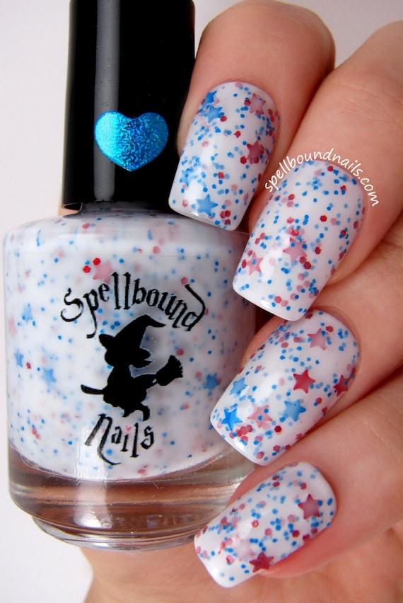 Star Spangled - White Crelly Red Blue Glitter Nail Polish