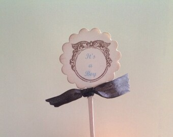 Baby Boy Cupcake Toppers- It's A Boy Cupcake Picks Baby Shower Birthdays