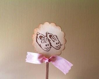 Baby Girl Cupcake Toppers- Bunny Rabbit Cupcake Picks Candy Bar Picks