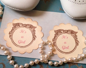 It's A Girl  Stickers Baby Girl Pink Stickers Envelope Seals Baby Shower Favors-set of 12
