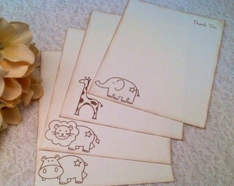 Gender Neutral Thank You Cards-Animal stationery for children and babies