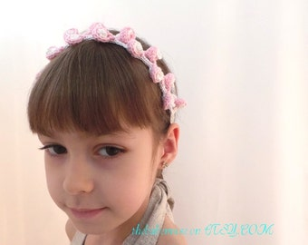mini flowers on head, baby girl headband, elastic crochet headband