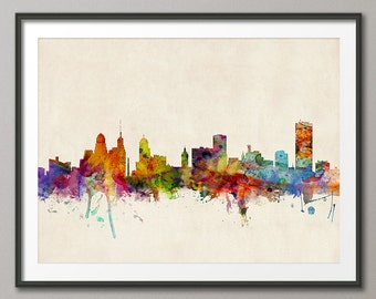 Buffalo Skyline, Buffalo New York Cityscape Art Print (191)
