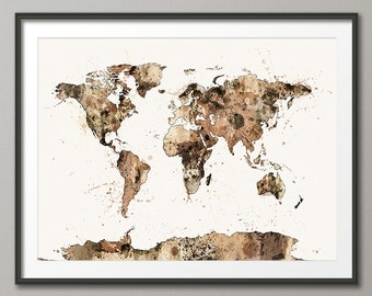 Watercolor Map of the World Map, Art Print (1152)