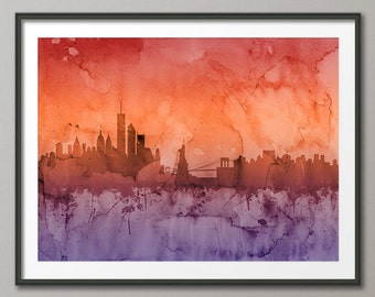 New York Skyline, NYC Cityscape Art Print (1243)