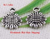 Sunflower Charm, 20 Charms, Tibetan Antique Silver Flower Charms 12 x 9 mm  ts325