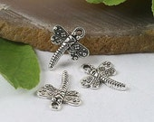 8 Dragonfly Charms Antique Silver Tone 18 x 15 mm - ts344