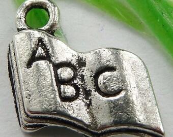 10 Book Charms Antique Tibetan Silver Tone 17 x 11 mm - ts424