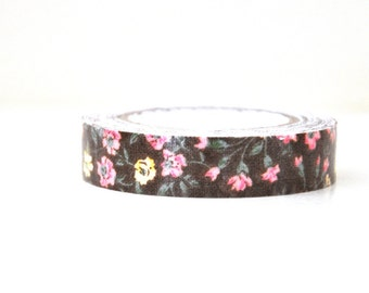 Chocolate Brown Roses Fabric Tape  - 5 Yards