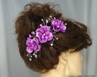 Wedding Hair Roses, Mini Hair Flowers, Orchid Hair Flowers, Flower Pins, Set of 3, REX14-129