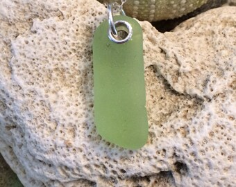 Sea glass jewelry- lime green sea glass set in sterling silver necklace