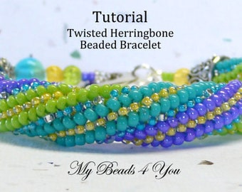 DIY Beading Instructions, PDF Beading Tutorial, Beading Pattern, Twisted Herringbone Instructions, Seed Bead Tutorial, Herringbone Tutorial