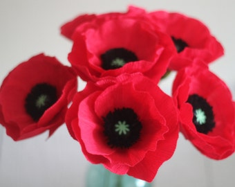 Oriental poppy Paper poppy ,paper flowers,paper poppies for wedding,home and special occasion