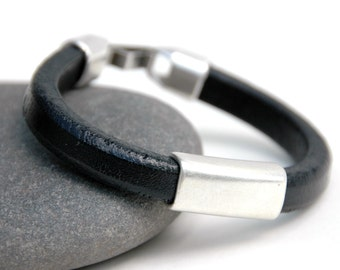 Men's Leather Bracelet, Black, Silver, Men's Jewelry, Thick Leather, Fathers day, Men's gift, Jewelry