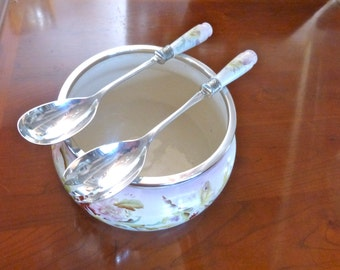 Antique Carlton ware salad bowl and matching servers