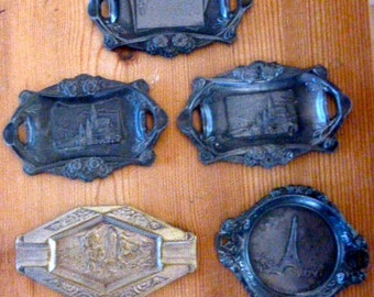 Collection of 5 art deco French ash trays