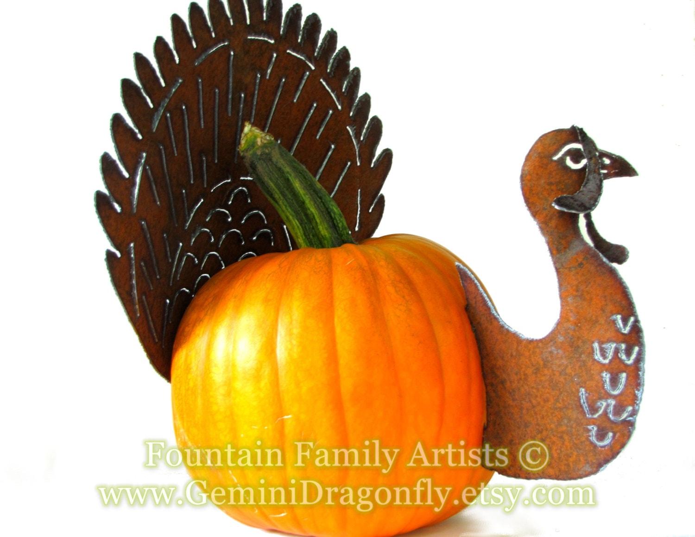 Rusty turkey pumpkin kit diy garden art fall home decor for How to decorate a pumpkin for thanksgiving