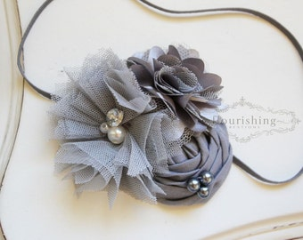 Grey headband, gray flower headbands, back to basics headbands, baby headbands, newborn headbands, photography prop