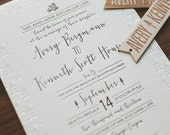 Rustic folk and Woodland Letterpress Wedding Invitation: Rustic Pine Cone, Trees