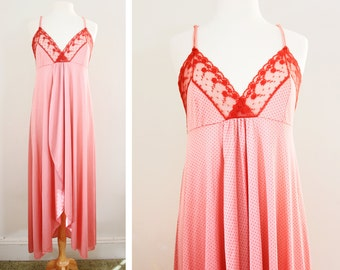 Vintage Lingerie Maxi Nightgown - Rose Pink Polka Dot Nightgown - Boudoir Pin Up Style - Size Medium