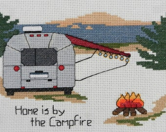 """PATTERN - Camping Cross Stitch  - """"Airstream - Home is by the Campfire"""""""