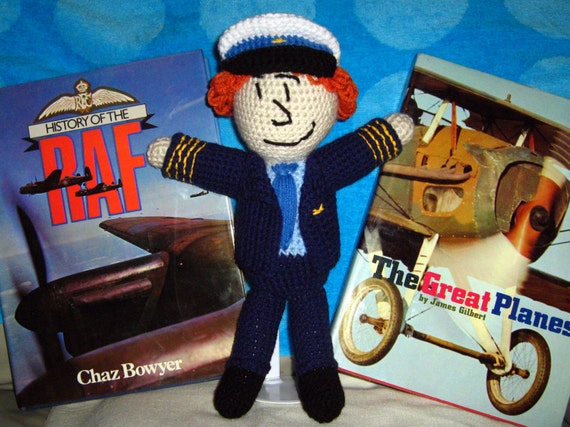 Cabin Pressure crocheted dolls -- Martin Crieff, Arthur Shappey, Douglas Richardson