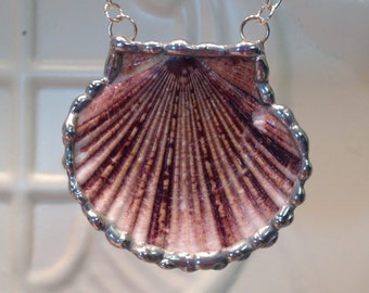 Flat Scallop Sea Shell Necklace Soldered Shell Pendant Christmas Birthday Gift Statement Necklaces Real seashells