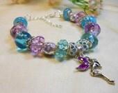 Purple Fairie Bracelet, Spring Charm Bracelet, European Style Bracelet, Blue and Purple Beaded Bracelet, Fairy Charm Bracelet