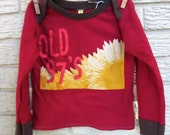 2T Old 97's Long Sleeve Upcycled T-Shirt / Blame it on Gravity / Dark Red / Brown / Rib Knit / Gifts 25 and Under / gifts for kids