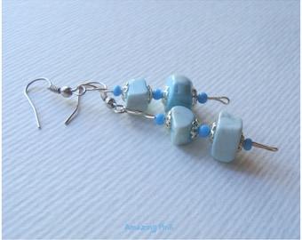 Beautiful dangle stone earrings, Light blue earrings , Handmade earrings