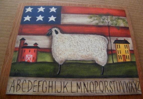 Sheep Wall Art Home Decor ~ Americana flag sheep saltbox houses alphabet folk art wall