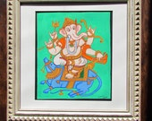 Indian folk art Mysore style painting Framed Hindu Art Ganesh painting Ganesha Ganapati Ganesh art