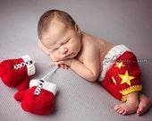 Newborn Boxing Set -Tiny Boxer- Boxing Gloves- Boxing Shorts- Baby Boy-Photo Prop