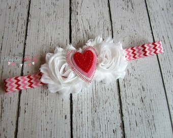 Sweetheart Headband - Red Pink White Chevron with Felt Heart - Baby Girl Child Valentine's Day Love