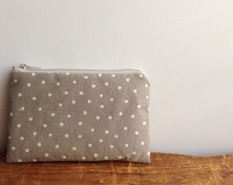 Coin Purse, White Polka Dots on Beige/Grey, Small Zipper Pouch, Back to School