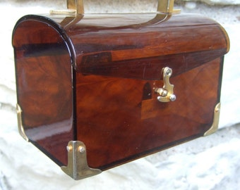 Sleek Amber Tortoise Shell Lucite Handbag Made in Italy c 1970